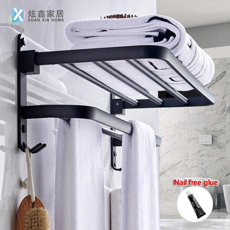 Towel Rack Matte Black Bathroom Holder Aluminum Organizer Hanger Wall Mounted Folding Locker Room Storage Shelf Hook Accessories